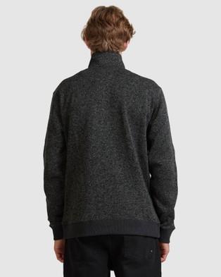 Quiksilver Mens Keller Zip Up Polar Fleece Hoodie - Hoodies (Dark Grey Heather)