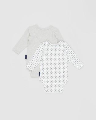 Pappe 3 Piece Nimmy Long Sleeve Bodysuit Set - Bibs (Grey & Navy Mint)