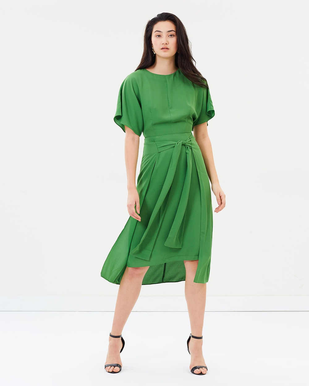 Warehouse Knot Front Dress Dresses Green Knot Front Dress