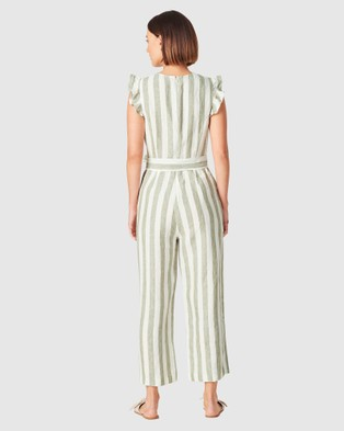French Connection Linen Stripe Jumpsuit - Pants (WASHED SAGE/SUMMER W)