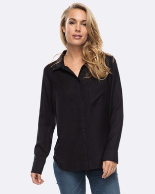 Roxy – Womens Always Young Long Sleeve Shirt Anthracite