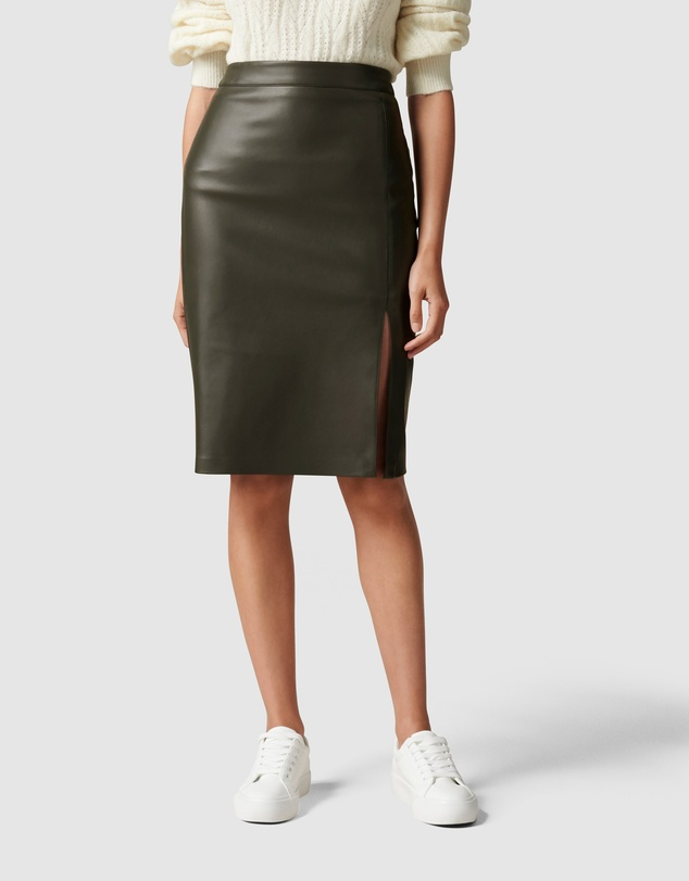 Forever New - Emilia Vegan Leather Split Midi Skirt