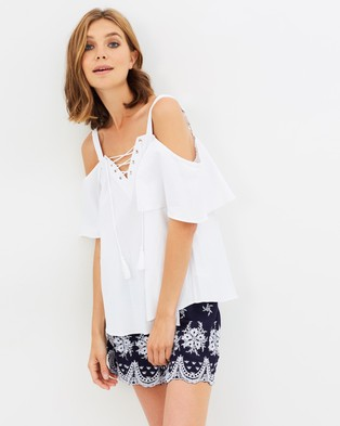 Sass – Adalyne Eyelet Trim Top White