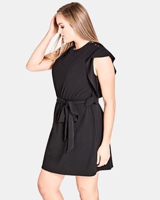 City Chic – Ring Me Tunic Dress – Tops Black