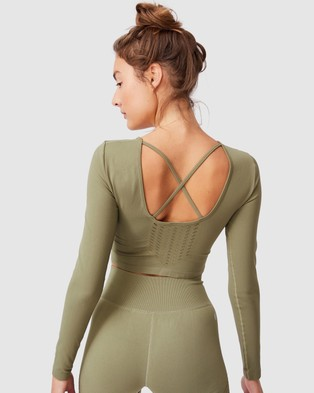Cotton On Body Active Seamless Open Back Long Sleeve Top - Long Sleeve T-Shirts (Oregano Wash)