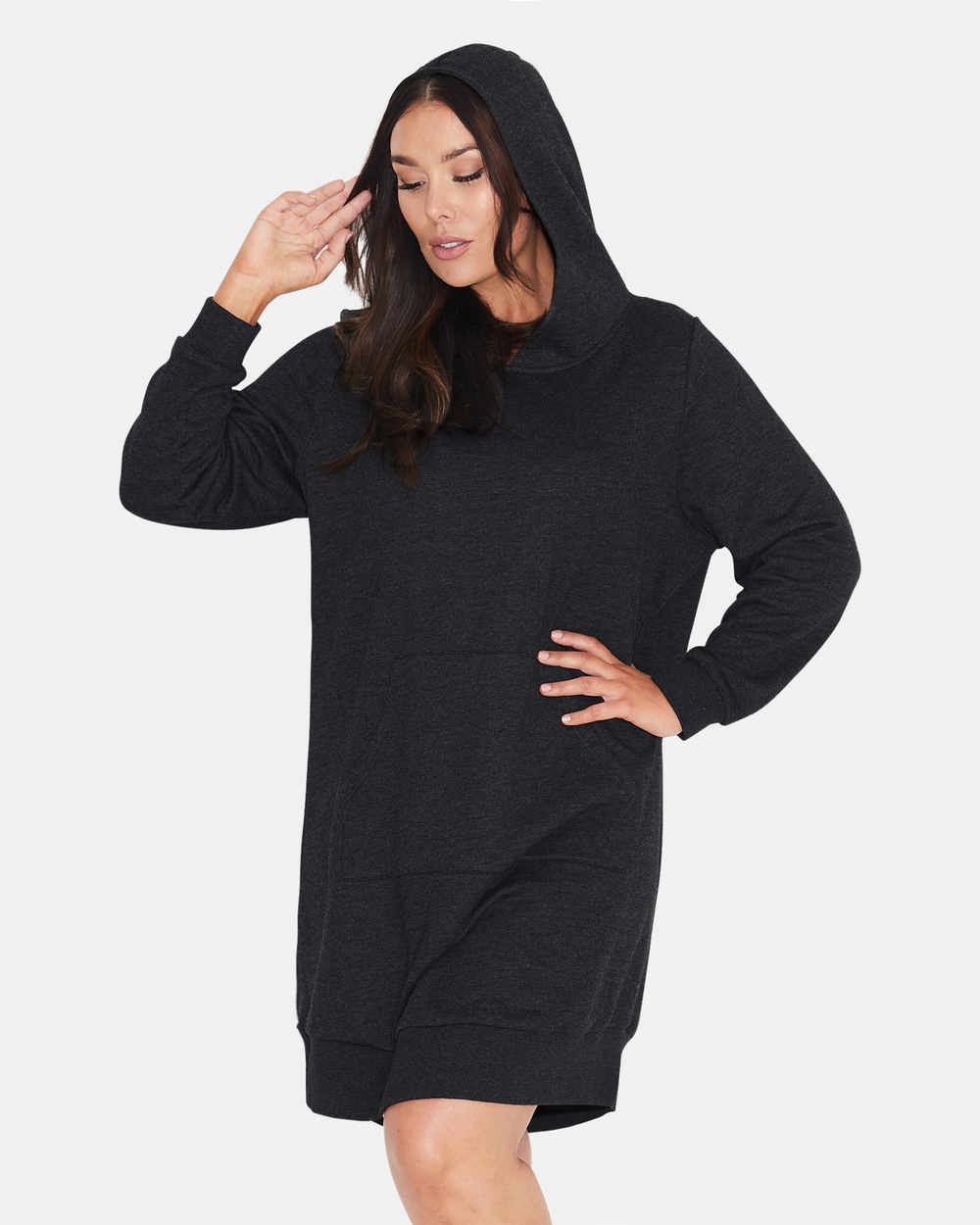 17 Sundays Basic Hooded Sweat Dress Dresses BLACK Basic Hooded Sweat Dress