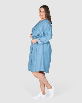 Love Your Wardrobe Morgan Chambray Shirt Dress Dresses Indigo