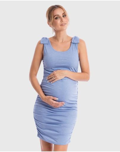 Maive & Bo Bonni Maternity Tank Dress Blue