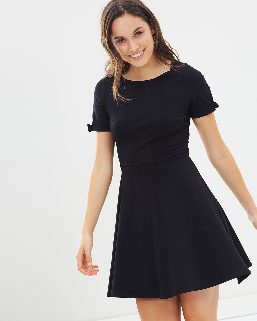 Dorothy Perkins Bow Short Sleeve Jersey Dress Dresses Black Bow Short Sleeve Jersey Dress