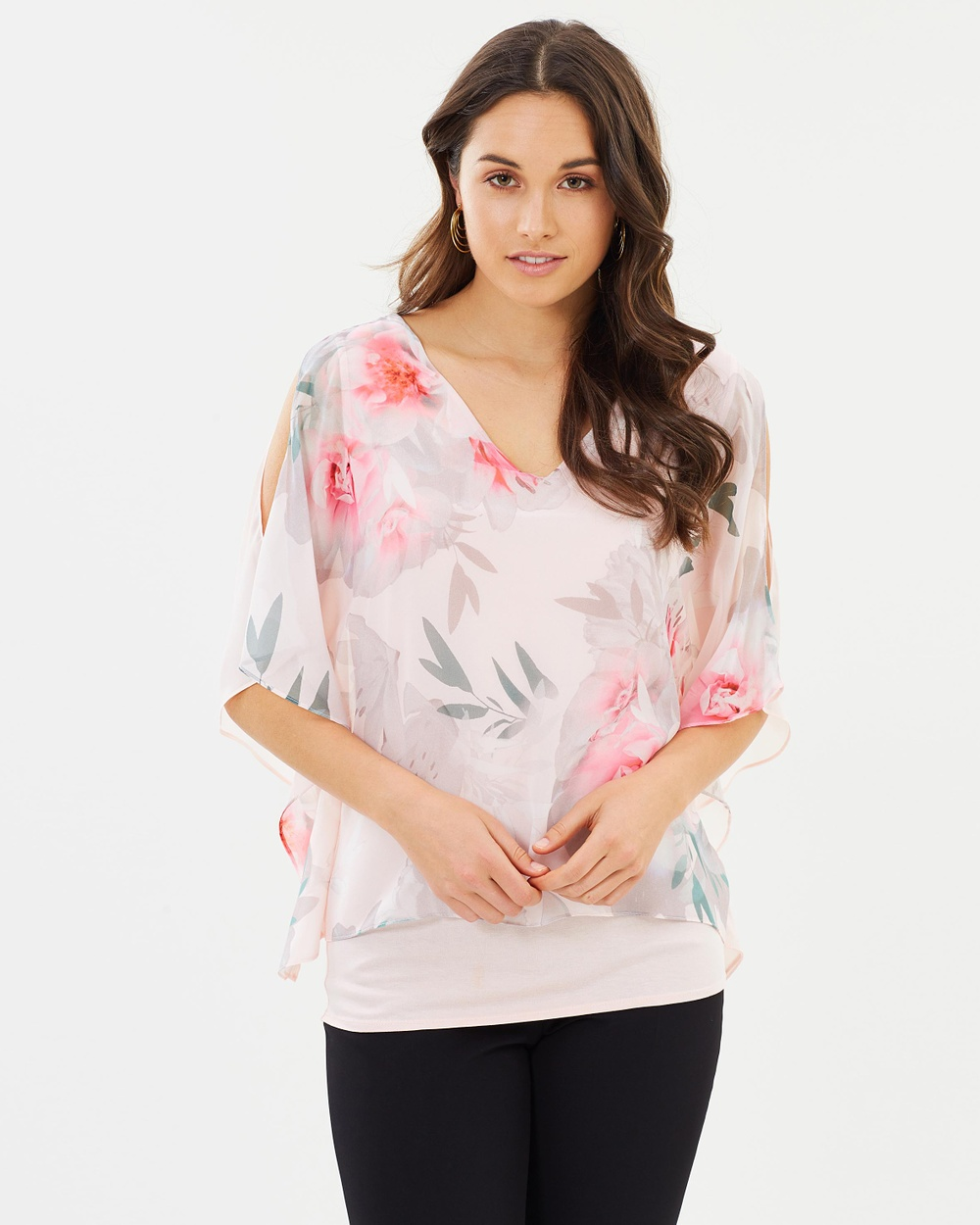 Wallis Floral Print Layered Top Tops Pink Floral Print Layered Top
