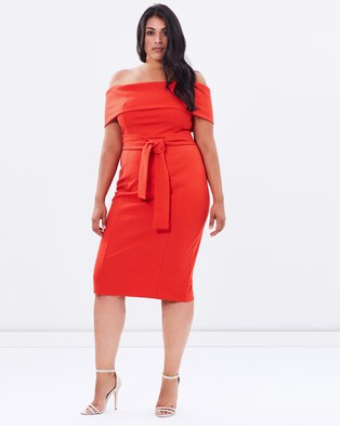 Atmos & Here Curvy – Magdalina Off Shoulder Dress – Bodycon Dresses (Coral Red)
