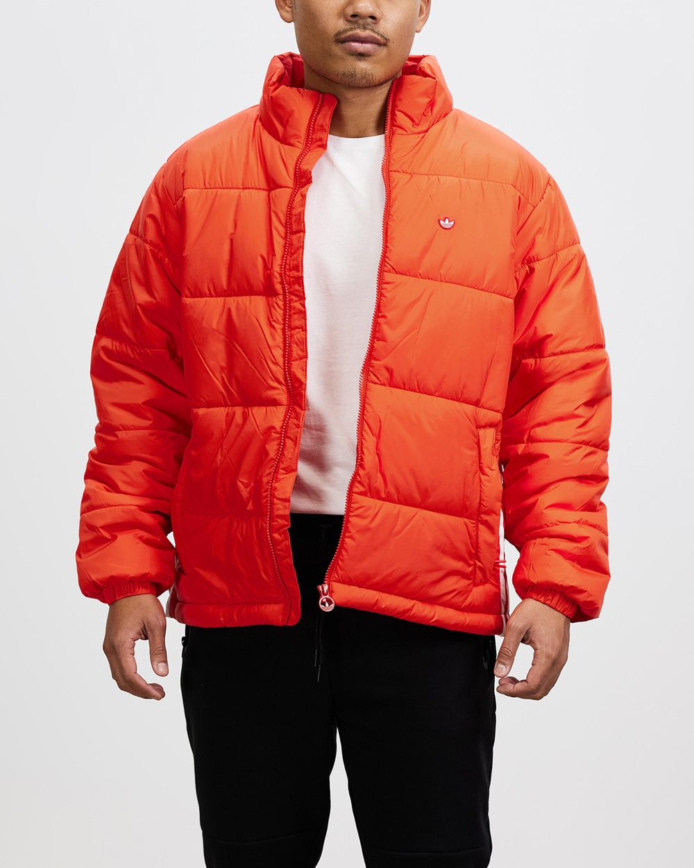 adidas Originals Padded Stand Up Collar Puffer Jacket and Coats Red Stand-Up