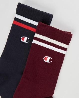Champion Branded Crew Socks 2 Pack Navy & Sepia Red 2-Pack