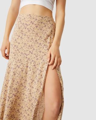 Cotton On Alana Split Maxi Skirt - Skirts (Ramona Sprig Sand Dune)