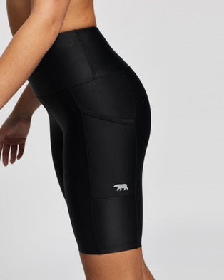 Running Bare Ab Waisted Power Moves Bike Tights - 1/2 Tights (Black)