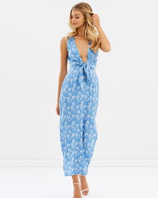 Atmos & Here y Tie Front Maxi Dress White Stencil Floral