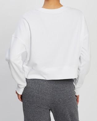 Calvin Klein Performance LS Crew Neck Crop Pullover - Crew Necks (White)