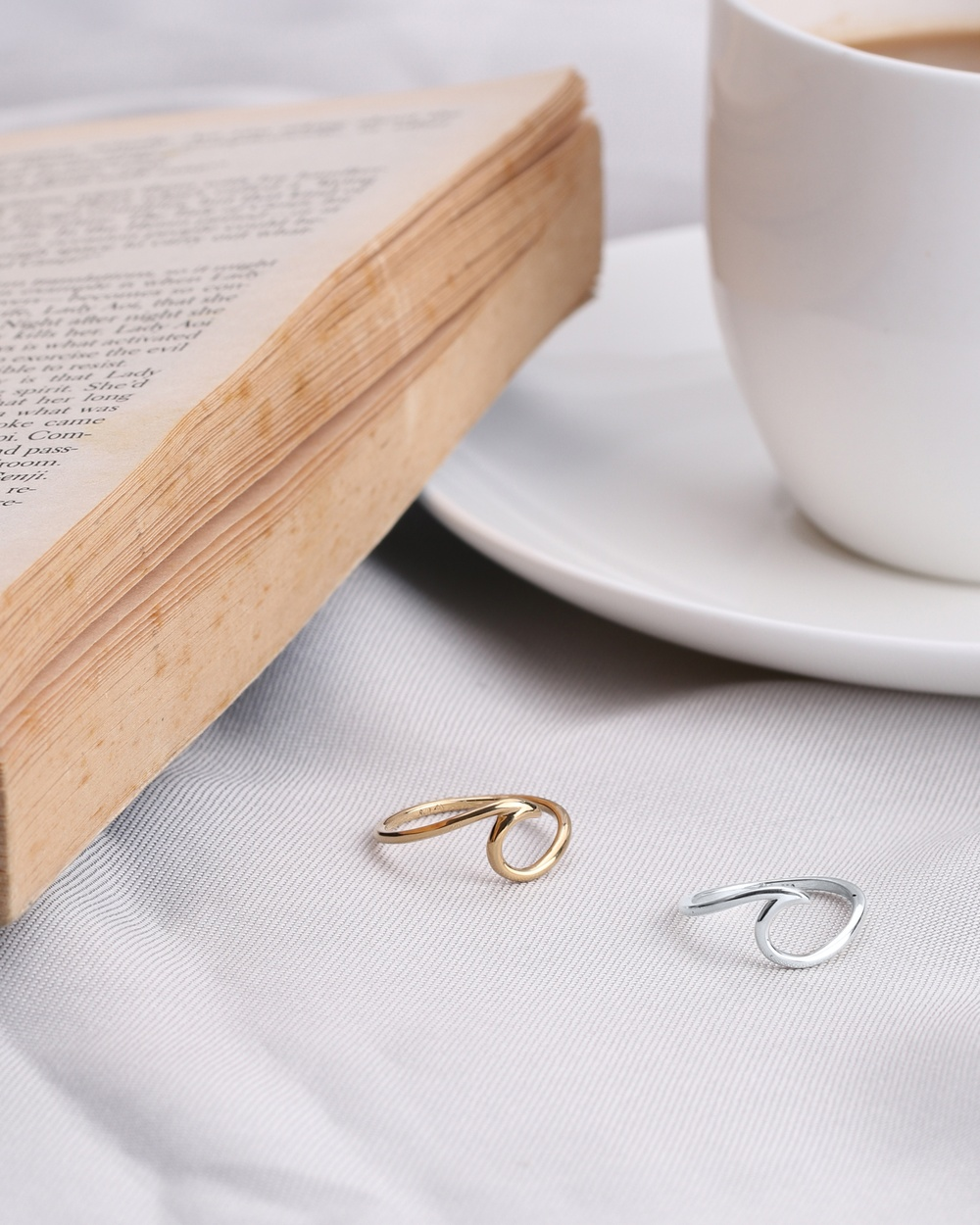 Elli Jewelry Ring Waves Wave Beach Maritime 925 Silver Gold Plated Jewellery Gold Gold-Plated