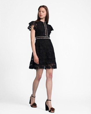 Cynthia Rowley – Black Floral Lace Flutter Sleeve Dress
