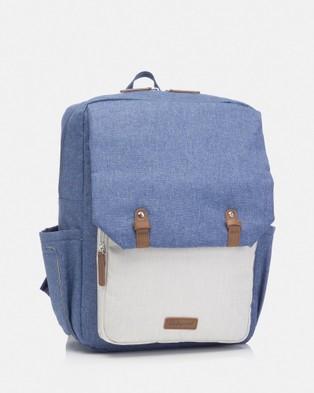 Babymel George Backpack Nappy Bag - Backpacks (Blue & Oatmeal)