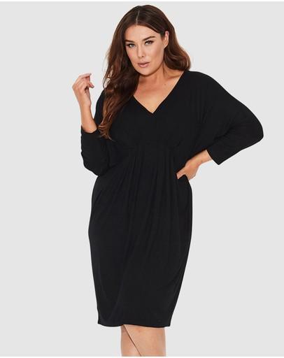 17 Sundays 3/4 Sleeve Freefall Dress Black