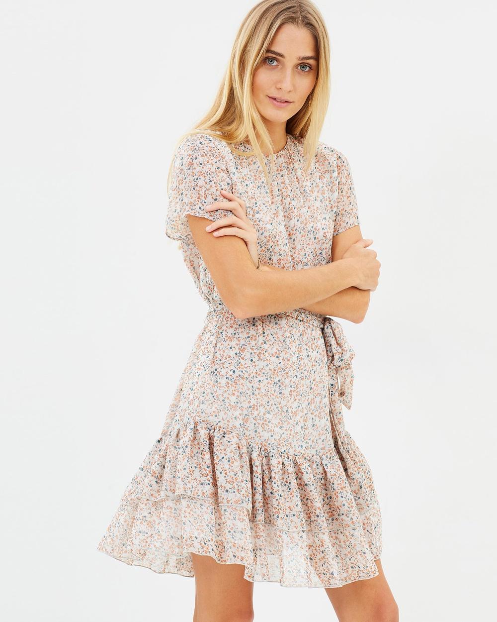 The East Order Cosette Mini Dress Printed Dresses Peach Dahlia Floral Cosette Mini Dress