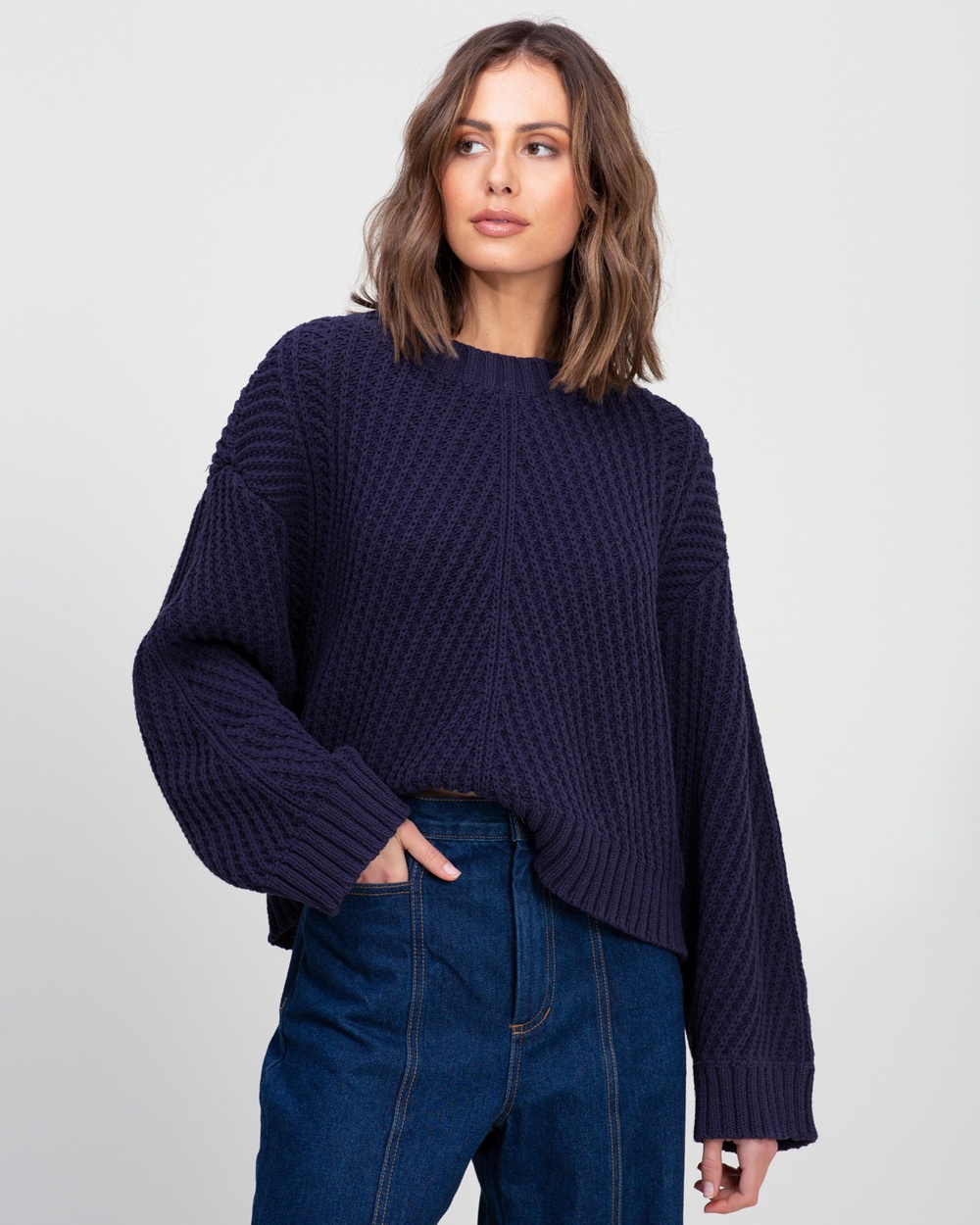 AERE Relaxed Organic Cotton Jumper Jumpers & Cardigans Midnight Navy