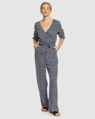 Roxy Womens Morning Air Long Sleeved Jumpsuit - Jumpsuits & Playsuits (MOOD INDIGO CHAOS)