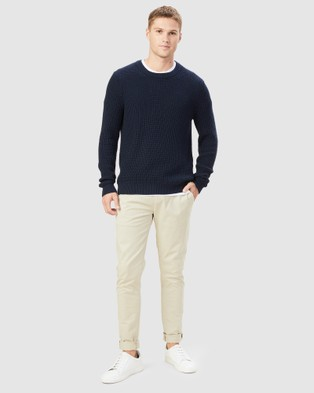 French Connection - Chunky Waffle Knit - Jumpers & Cardigans (MARINE BLUE) Chunky Waffle Knit