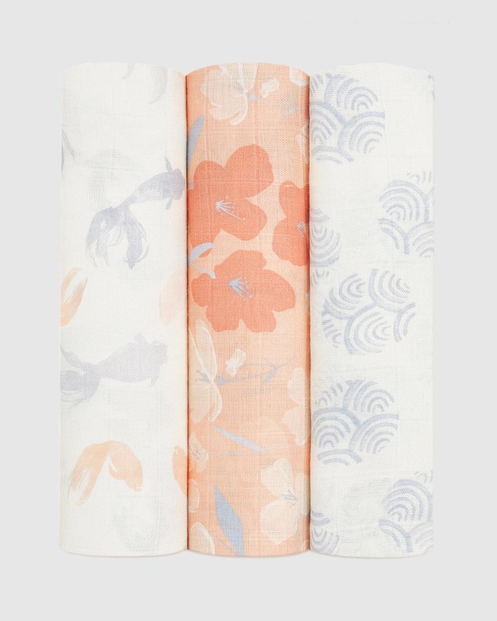 Aden & Anais 3 Pack Silky Soft Swaddles Wraps Blankets Koi Pond