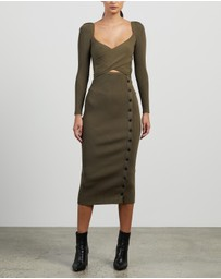 Self Portrait - Cut Out Knit Midi Dress