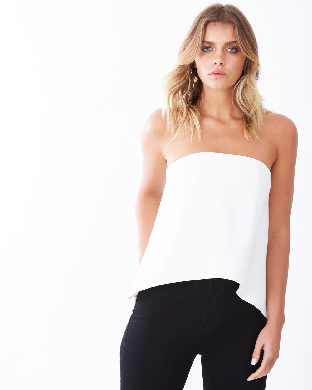 Tussah Tunis Bandeau Top Cropped tops White Tunis Bandeau Top