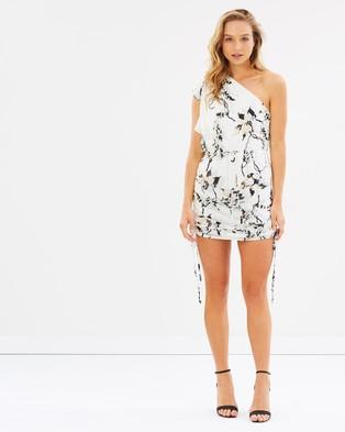 Shona Joy – One Shoulder Drawstring Mini Dress – Printed Dresses Multi