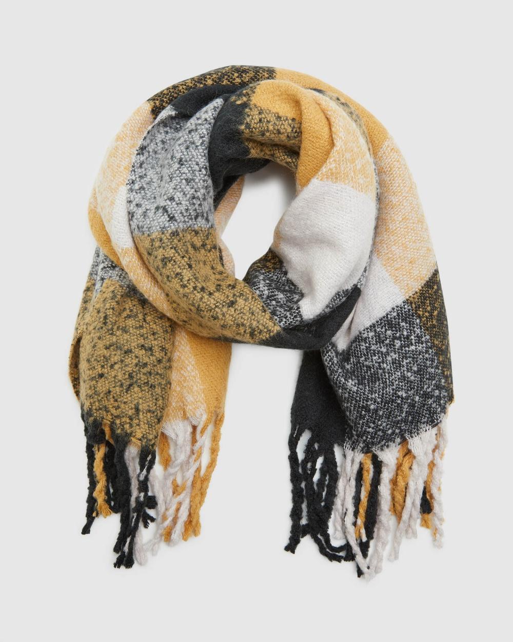 Oxford Kaylee Block Check Blanket Scarf Scarves & Gloves Grey