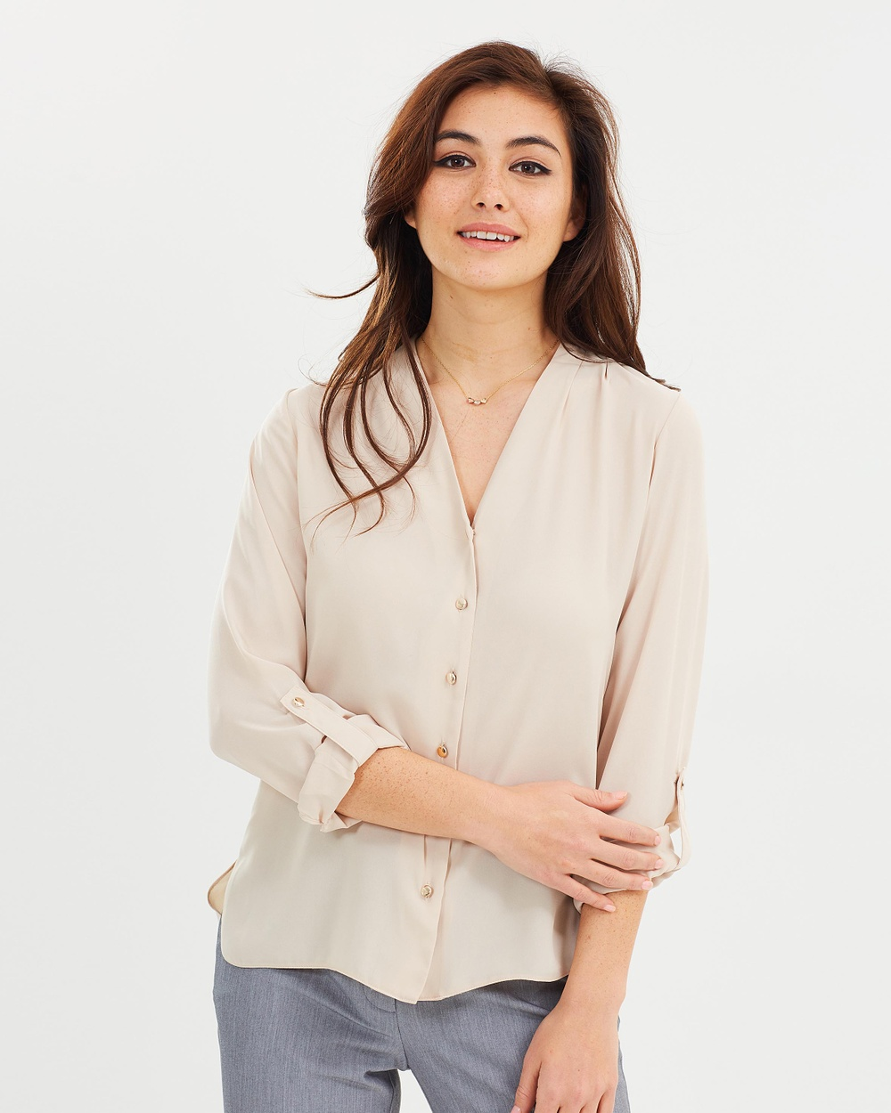 Dorothy Perkins May Stone Sleeve Top Tops Cream May Stone Sleeve Top