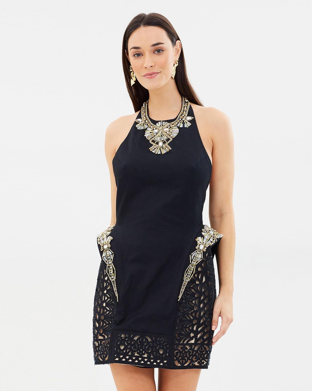 ROXCIIS Astra Laser Cut Dress Bodycon Dresses Black Astra Laser Cut Dress