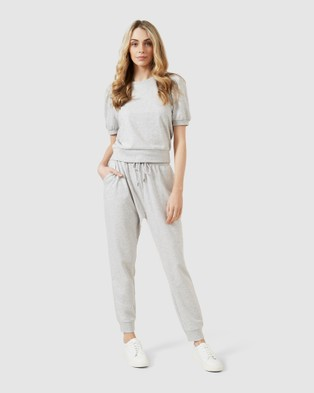 French Connection Cropped Puff Sleeve Sweat - Sweats (LIGHT GREY MARL)