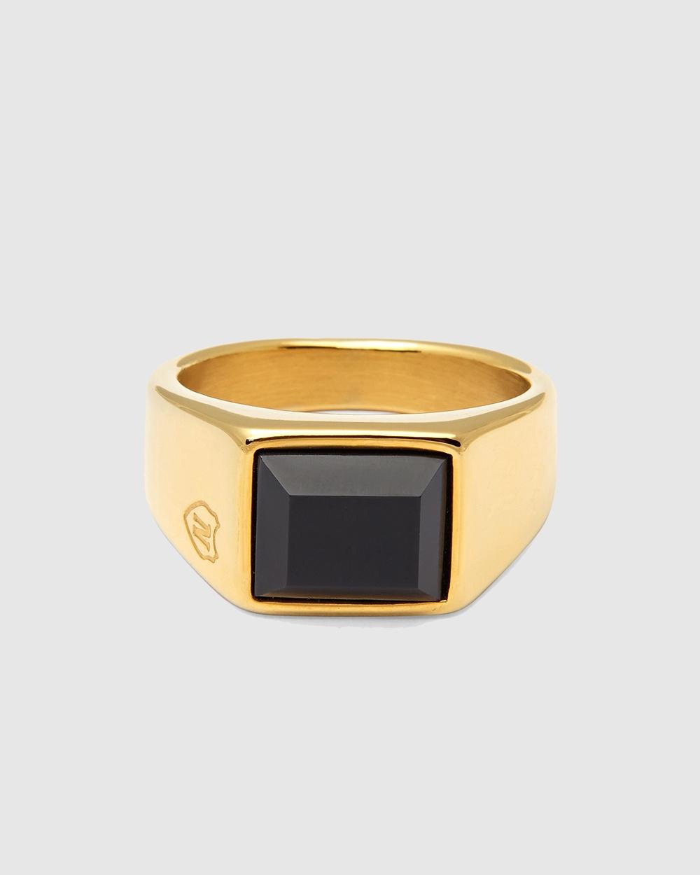 Nialaya Jewellery Men's Squared Signet Ring Gold