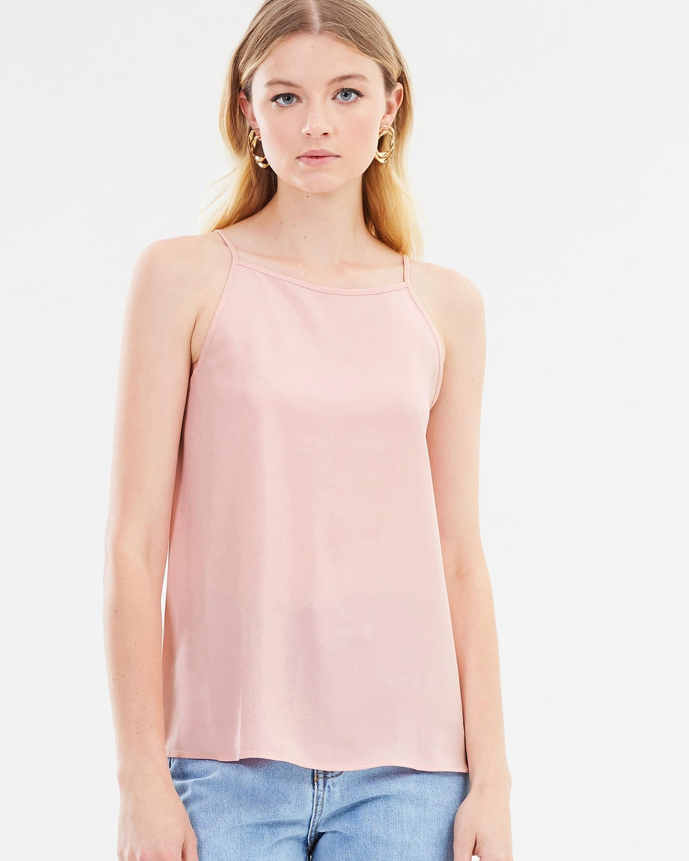 Warehouse High Neck Cami Tops Light Pink High Neck Cami
