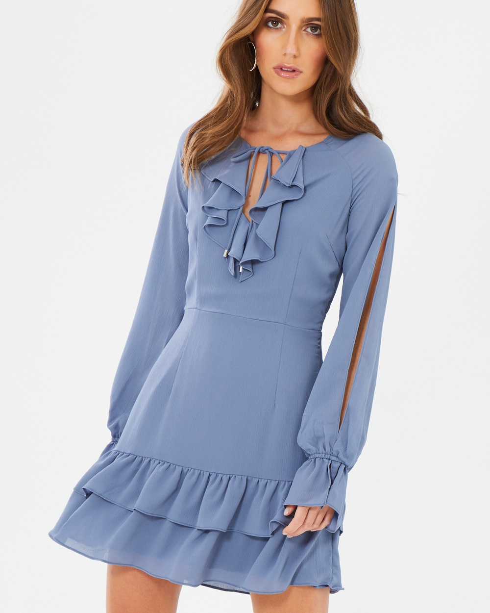 CHANCERY Harper Flounce Mini Dress Dresses Dusty Blue Harper Flounce Mini Dress