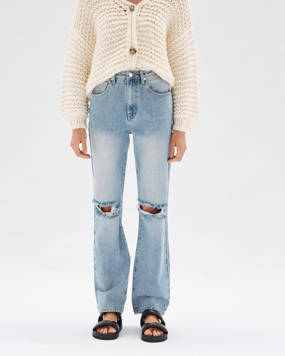 Staple the Label Muse Distressed Jeans Slim Vintage Blue
