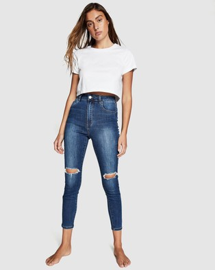 Cotton On High Rise Cropped Skinny Jeans - Crop (Berkley Blue Rip)