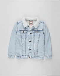 Free by Cotton On - Jessie Denim Sherpa Jacket - Teens