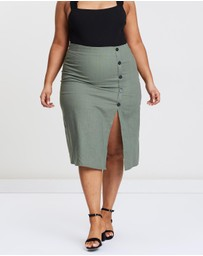 Atmos&Here Curvy - ICONIC EXCLUSIVE - Cherish Side Button Skirt