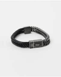 Kavalri - Armour Double Leather & Steel Bracelet - Aged Steel Clasp