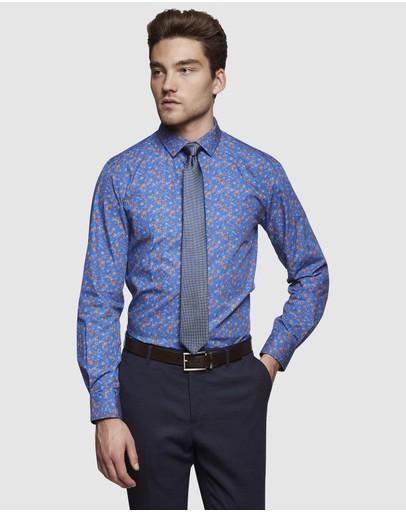 Oxford Kenton Floral Printed Luxury Shirt Blue