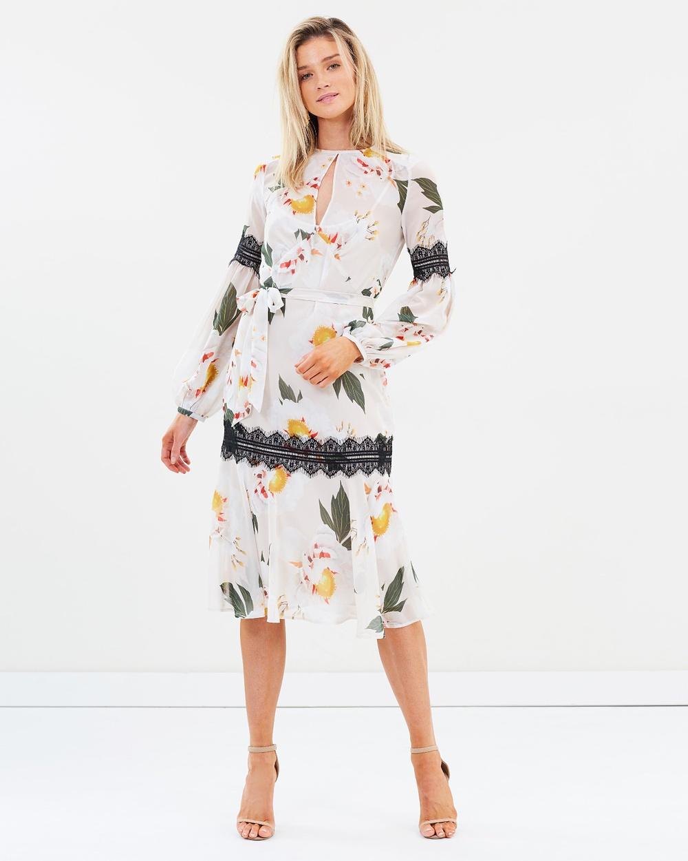 Cooper St Magnolia Long Sleeve Midi Dress Printed Dresses Print Light Magnolia Long Sleeve Midi Dress