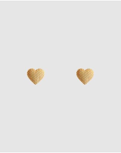 Short Story Fancy Earring Hearts Cream