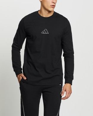 adidas Performance Repeat LS Tee - Long Sleeve T-Shirts (Black)