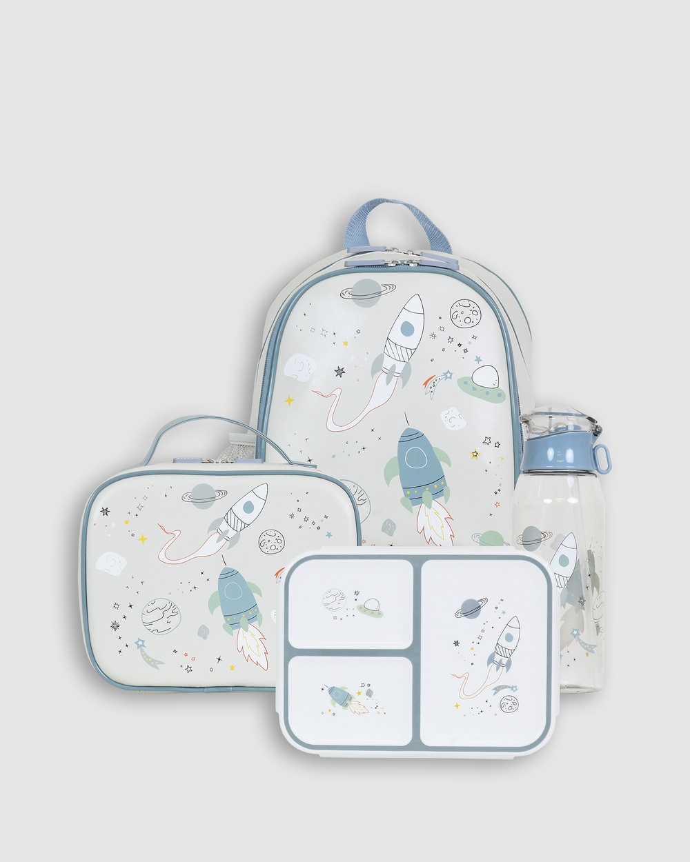 Bobbleart Large Backpack Lunch Bag Bento Box and Drink Bottle Space Backpacks Light Grey